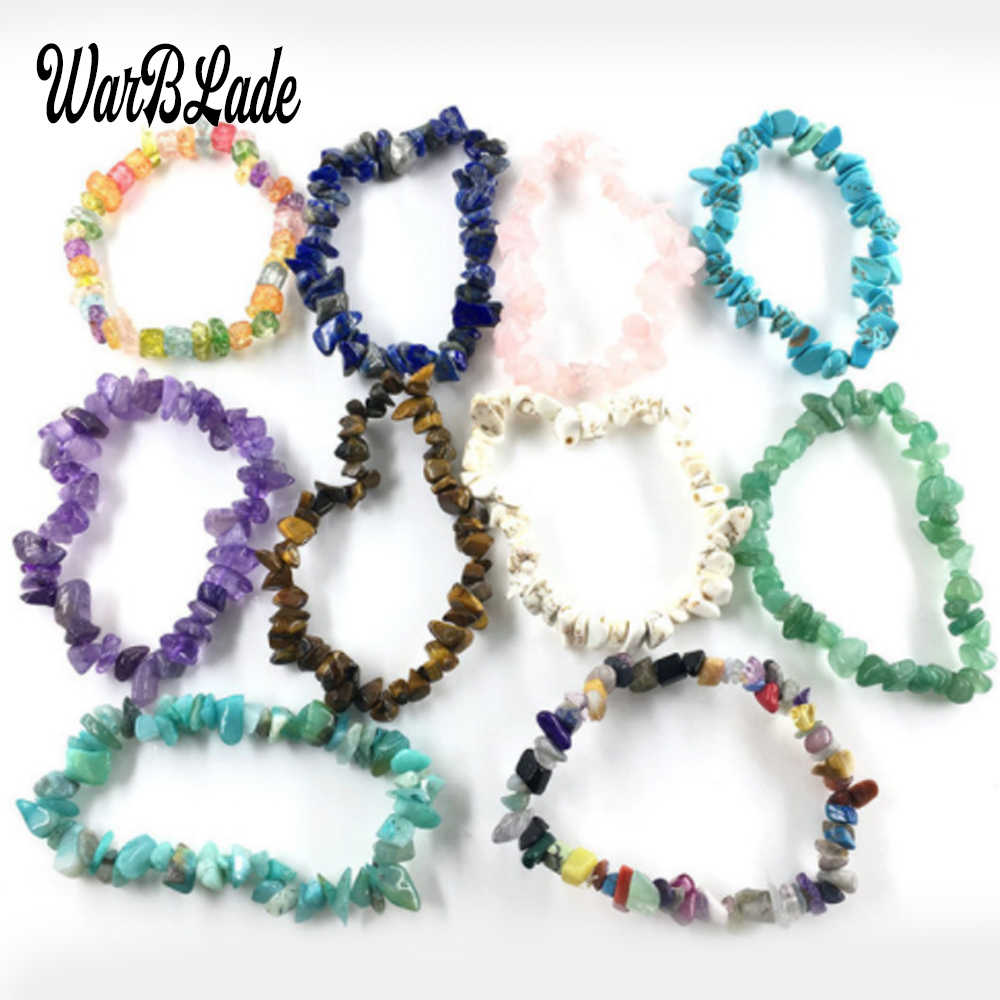 Natural Gem stone Bracelet Nuggets Healing Elastic Charm Chip Beads Crystal Bracelets For Women Fashion Jewelry Boho Bangles
