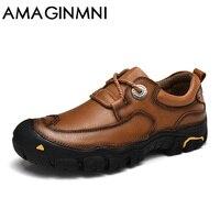 AMAGINMNI Erkekler Rahat Ayakkabılar Erkek Çalışma Ayakkabı Yeni Moda Marka Tasarım Açık Eğlence Ayakkabı Büyük boy deri ayakkabı erkekler