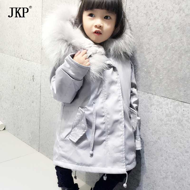JKP 2018 Autumn and winter children fox rabbit fur parkas thickening dovetail large fur collar jacket Outwear Coats kids CT-02 women winter coat leisure big yards hooded fur collar jacket thick warm cotton parkas new style female students overcoat ok238