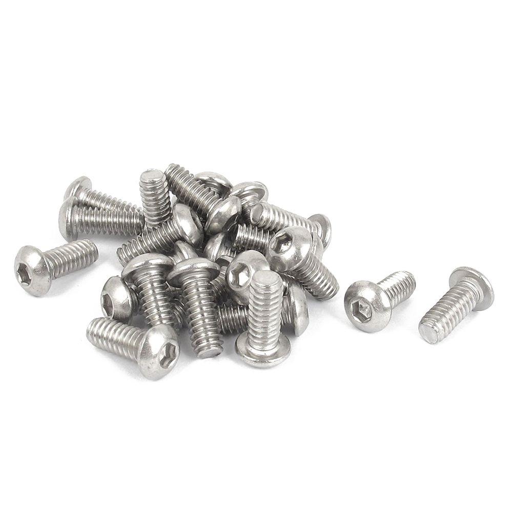25 PCS 1/4 -20x5 / 8 inch hex socket Button Head bolts screws ksol m6 x 70mm threaded 1mm pitch hex socket head cap screws bolts 5 pcs