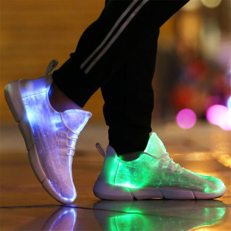 Luminous Sneakers USB Glowing Light Up Shoes for Kids White Mesh LED Sneakers Children Flashing Shoes with Light for Adult&Kid ...