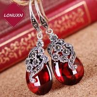 Silk Princess Silver S925 Sterling Silver Vintage Silver Flower Jade Red Stud Earrings Female Silver Handmade