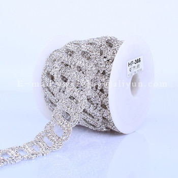 Crystal Rhinestone Cup Chain Bride wedding Evening dress decorations Silver Plated Metal  Mesh Trimming HF-366