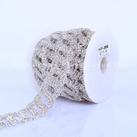 Crystal Rhinestone Silver Plated Metal Crystal Rhinestone Cup Chain Mesh Trimming Cup Chain