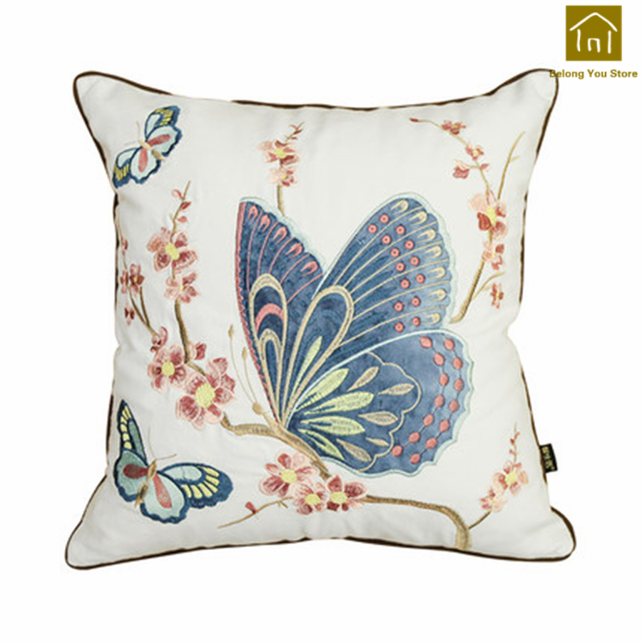Cojines Para Us 45 57 24 Off Embroidered Decorative Pillow Butterfly Pillows Seat Chair Cushion Luxury Back Cushion Cojines Para Sofa Household Items Wkx060 In