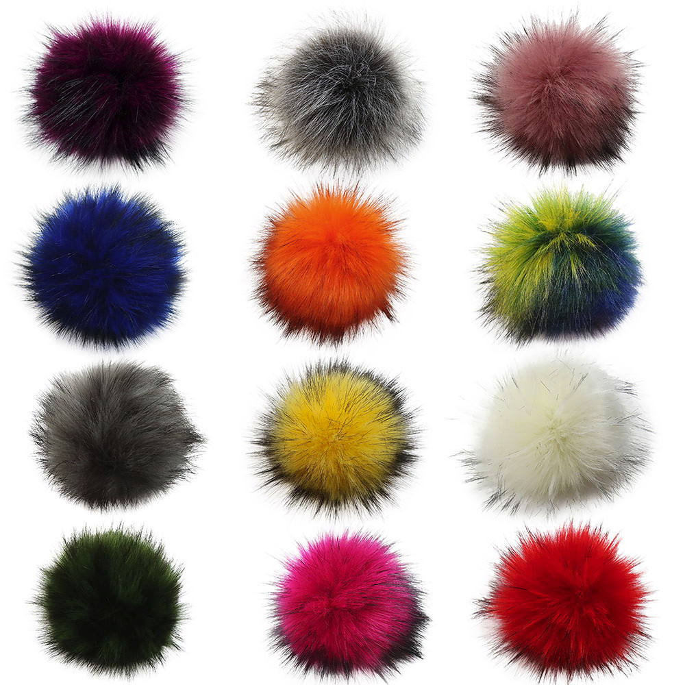Hat-Accessories Beanies Pompom Knit-Hat Fluffy Natural Fox-Fur-Ball Skullies Without