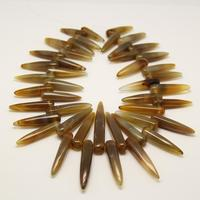 Natural Dark Brown Agates Bullet Beads Strand Top Drilled Graduated Polished Point Spikes Beads For Necklace