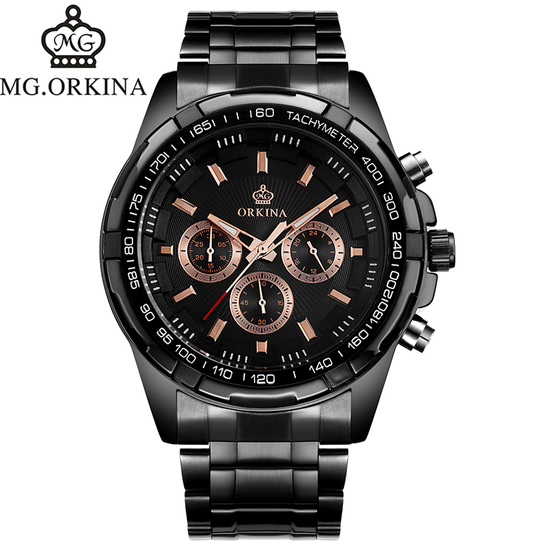 ФОТО MG.Orkina Fashion Men's Horloges Mannen Quartz Sport Men's Watch Mens Wirst Watches Gift Box Free Ship