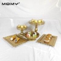 Металлические украшения бело золотые розовый вечерние свадебные висит кристалл 1 ярус десерт лоток пластины рождения пирожное в форме серд