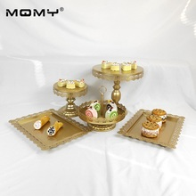 Metal Decorating Gold White Pink Party Wedding Hanging Crystal 1 Tier Dessert Tray Plate Birthday Heart Shaped Cake Stand
