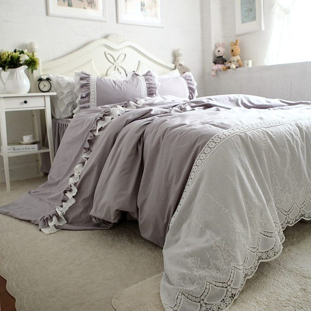 Grey Luxury Bedding Set Embroidery Lace Duvet Cover Satin
