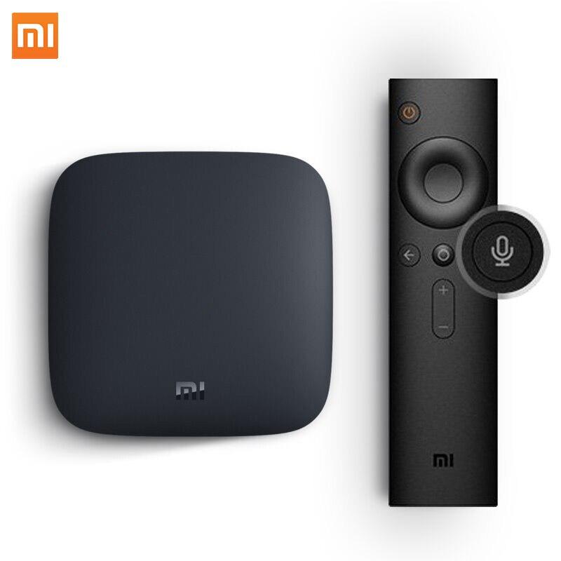 2018 Original Xiao mi mi BOX TV BOX 3 nova Chegada Android 6.0 2g/4 8g Inteligente k Quad Core HDR Filme Set-top Box Multi-língua