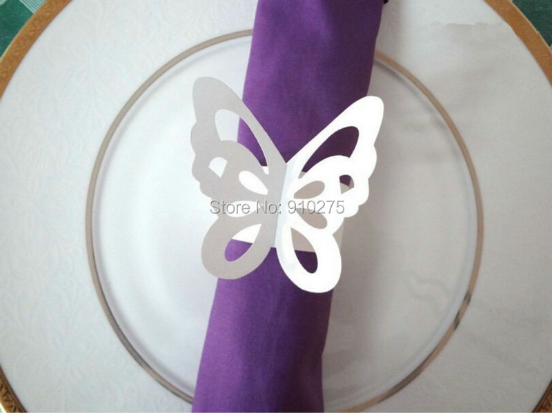Set Of 50 Purple White Laser Cut Erfly Paper Napkin Rings Wraps Wedding Favors Banquet Home Table Decoration In Party Diy Decorations From Garden