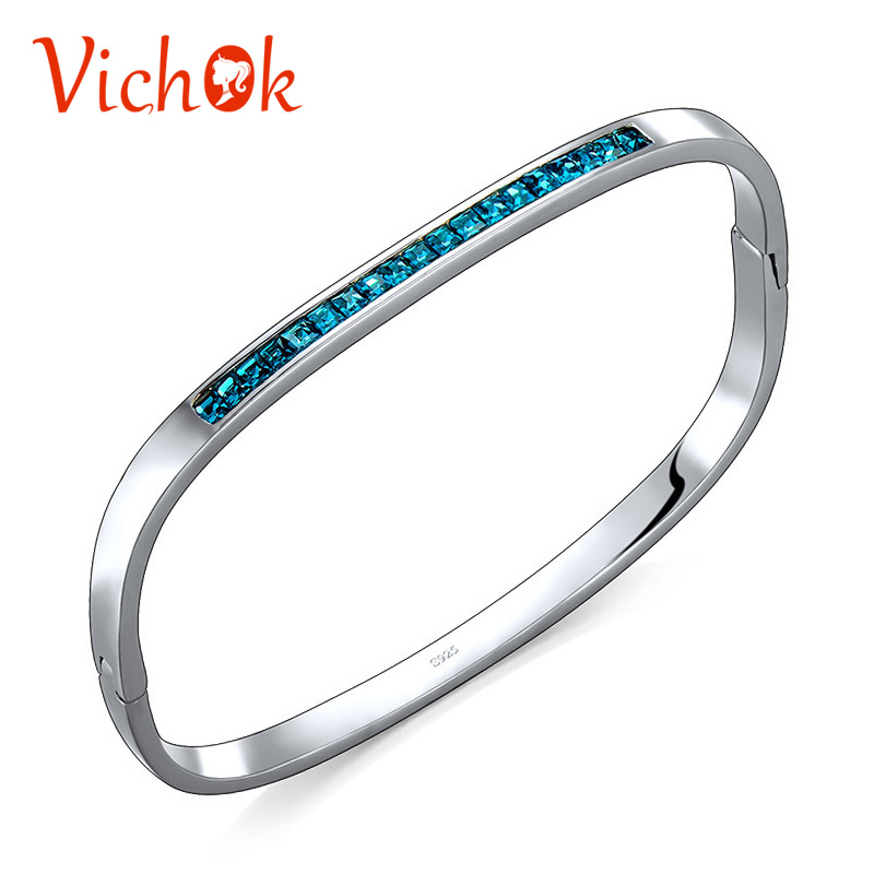 VICHOK Oval 925 Sterling Silver Blue Crystal Bracelet Bangles For Women Birthday Gifts Bracelets Vintage Fine Jewelry pulseira poshfeel silver plated anchor bracelet for women blue crystal charms bracelets diy bead jewelry pulseira mbr170132