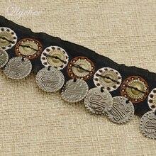 Vintage tecido borla guarnição boêmio fita moedas forma pingente cinta étnica roupas costura decoração acessórios