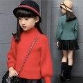 Jersey de cuello alto niña rojo verde rosa de la vendimia ropa de invierno géneros de punto de manga larga de bebé fábrica de ropa adolescente