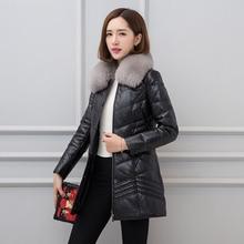 2018 Black Long Female Leather Down Coat Single Breasted Fox Collar Genuine Sheepskin Women Winter Down Jacket 4XL FREE SHIPPING