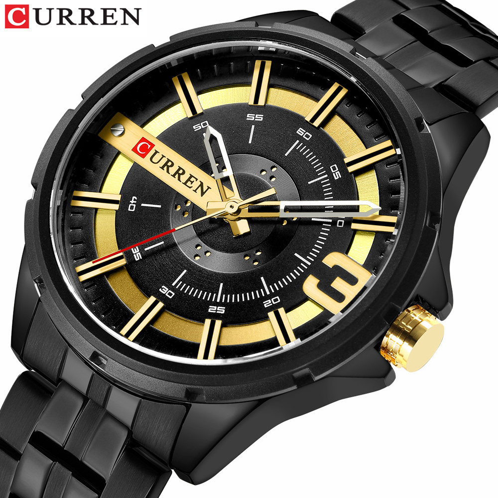 CURREN Watches For Men Military Quartz Watch Unique Design Dial Stainless Steel Band Clock Male Wristwatch Relogio Masculino