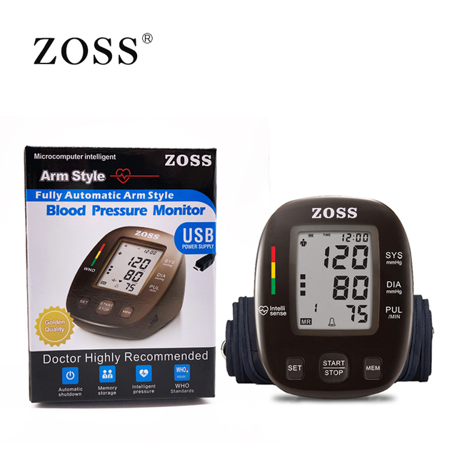 ZOSS latest models English or Russian Voice German chip LCD upper arm blood pressure monitor heart beat instrument tonometer 2