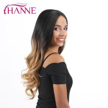 HANNE Long Wavy Synthetic Wigs Lace Front Ombre Black to Brown Wigs