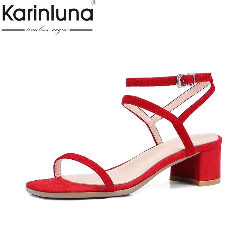 KARINLUNA 2018 Fashion Large Size 33-40 Kid Suede Genuine Leather Summer Woman Sandals Woman Square High Heels Shoes
