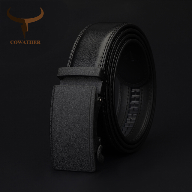 Automatic Buckle Genuine Leather Belt For Men (Black)