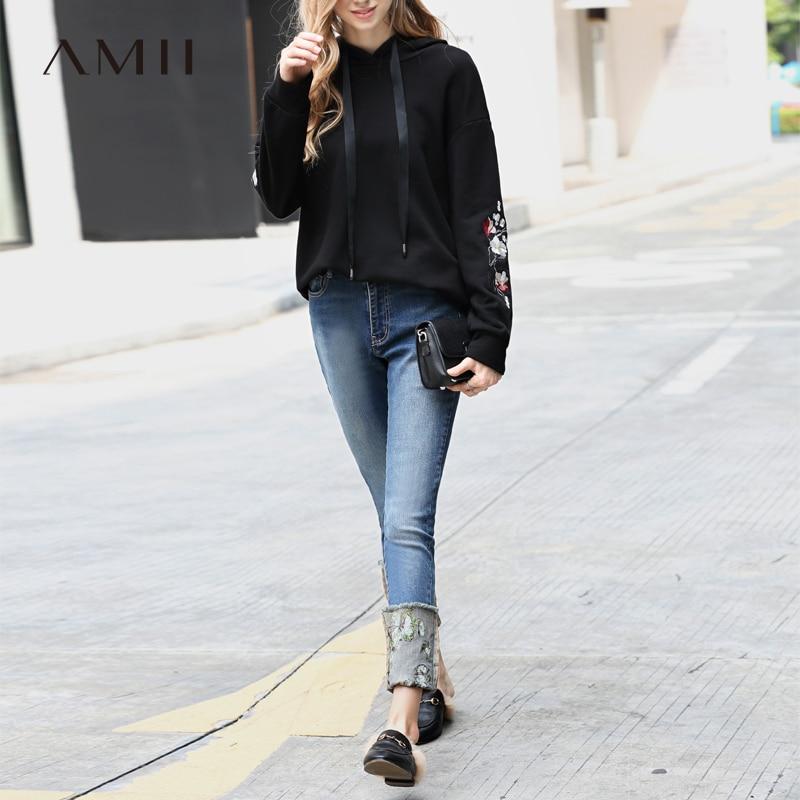 Amii minimaliste Skinny Jeans femmes Denim pantalon 2018 casual broderie Floral taille haute Vintage mode Nova Jeans