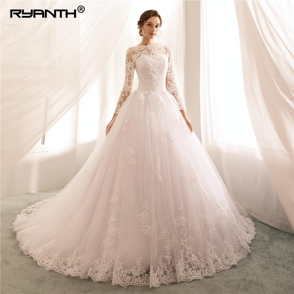 Long Sleeves Wedding Dresses 20 Lace A Line Wedding Gowns Sexy Sheer New  Arrival Bride Dress Robe De Mariee Vestido de Noiva