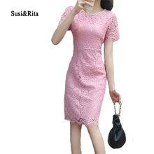 Суси & Рита плюс Размеры летнее платье Для женщин Винтаж белый Кружево платье 2018 элегантные дамы Bodycon Платья для вечеринок платье vestidos Femme