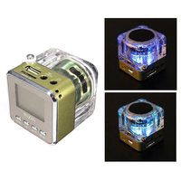 Top Deals NIZHI Mini Speaker LED SD / TF MP3 player speaker FM USB Sound Station Music Box Colours: Blue/Green
