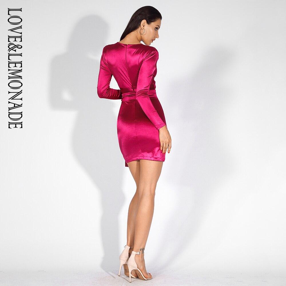 Love&Lemonade  Deep V-Neck Rose Red Cut Out Shoulder Pad Slim-Fit Party Dress LM81565 RED Autumn/Winter