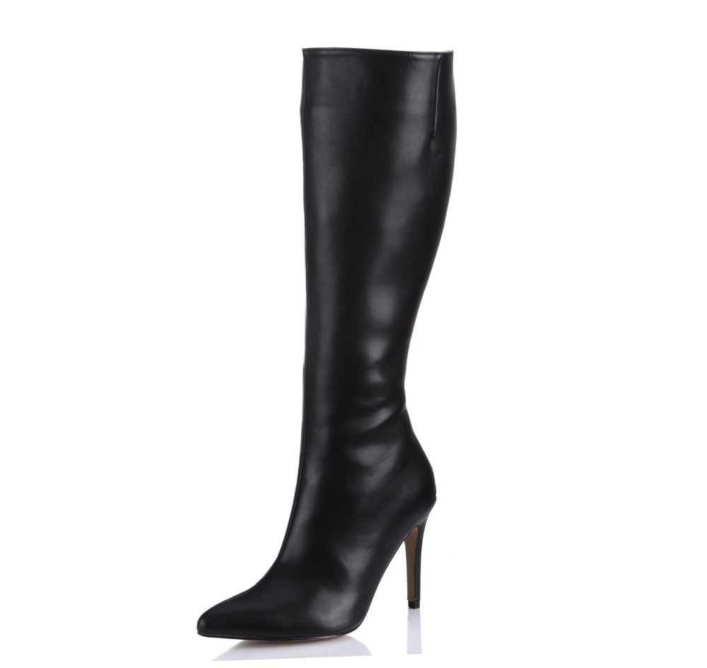 2018 autumn new sexy pointed toe high heels boots fashion stiletto heeled knee high boots ladies party long boots winter shoes 20cm pole dancing sexy ultra high knee high boots with pure color sexy dancer high heeled lap dancing shoes