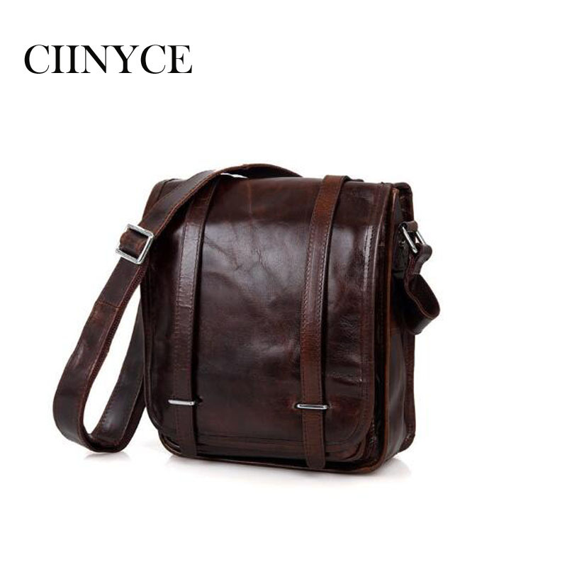 Men's Bags genuine leather Vintage men briefcases handbags natural cow Solid shoulder bag Male business Cross-body messenger bag