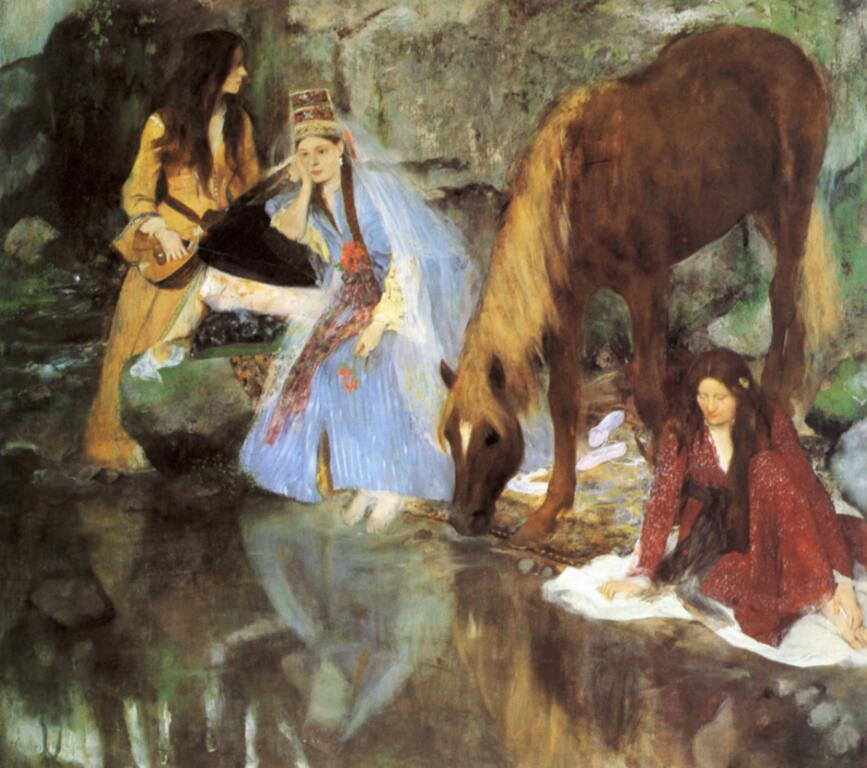 High quality Oil painting Canvas Reproductions Mlle Fiocre in the Ballet The Sourc (1867-1868)-01  By Edgar Degas hand paintedHigh quality Oil painting Canvas Reproductions Mlle Fiocre in the Ballet The Sourc (1867-1868)-01  By Edgar Degas hand painted