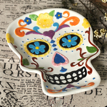 1pc creative ceramic plate dish 3d skull hand painting plate dish fruit plate salad plate home decoration halloween decor gift - Halloween Plates Ceramic