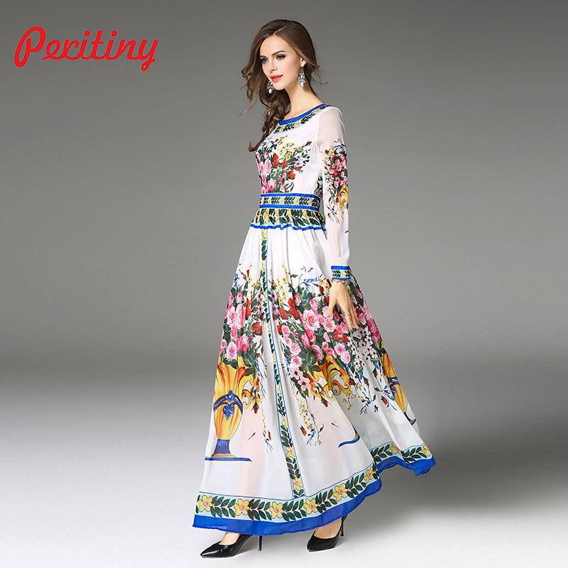 8ca33bbc306 Peritiny Women Dresses Casual A Line Thin Slim Muslim Clothing Church Style  Female Dress Autumn Floral Print Maxi Dress Chiffon-in Dresses from Women s  ...