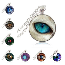 Blue Dragon Eye Necklace Gothic Evil Eye Jewelry Glass Cabochon Round Pendant Gifts for Women Men Girls Chain Sweater Necklace