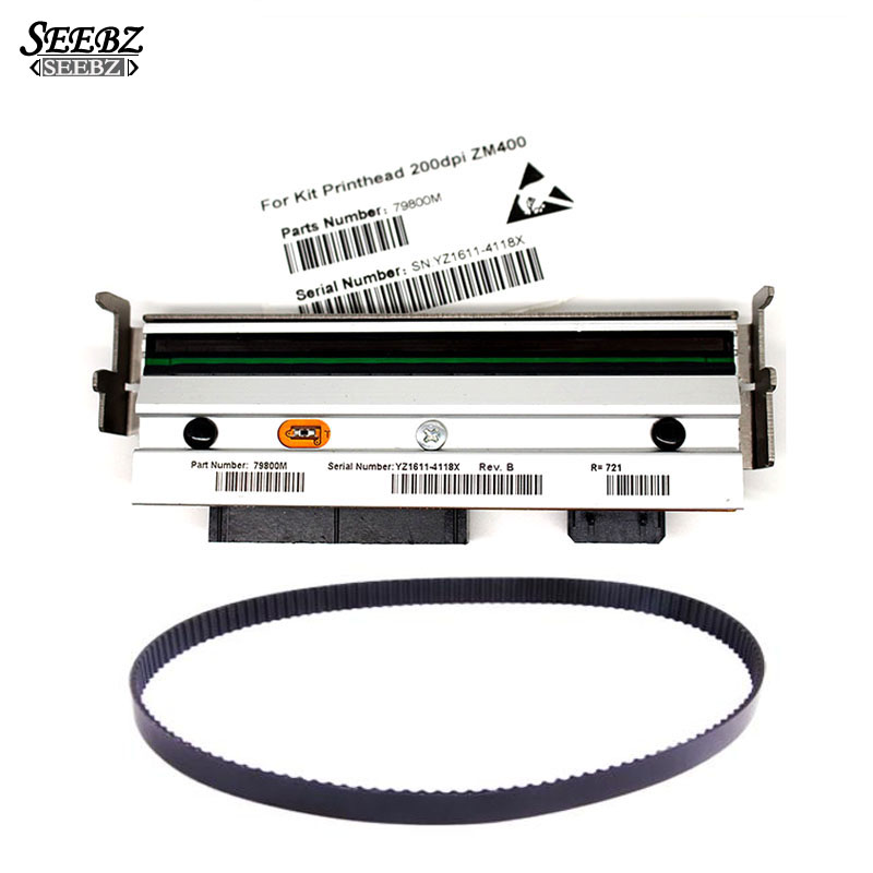 Compatible 79800M Print Head PrintHead+79866M Main Drive Belt For Zebra ZM400 203dpi Thermal barcode label printers zebra z4m z4m z4000 300 dpi bar code printing head printer print head original kpa 106 12 taf5 zb4