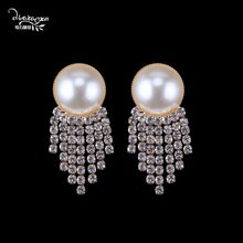 Dvacaman Za Simulated Pearl Earrings 2019 New Style Women Crystal Drop Earrings Wedding Statement Jewelry Wholesale Critsmas(China)