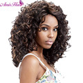 New  Short Curly Black and Brown mix Wig African American Wig For Black Women Haircut Synthetic Highlight Natural Wig Perucas
