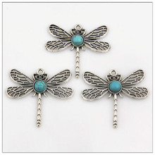 5 Charms Pendants Tibetan Silver Round Dragonfly DIY 46x43mm