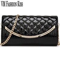 VM FASHION KISS Patent Leather Diamond Lattice&Alligator Women Party Day Clutches Shoulder Bag Lady Wristlets Handbag Clutch Pur
