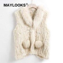 2018 New Lady Real Rabbit Fur Vests  Collar Women Winter Fashion Gilet Waistcoat Ladies Coat CS143
