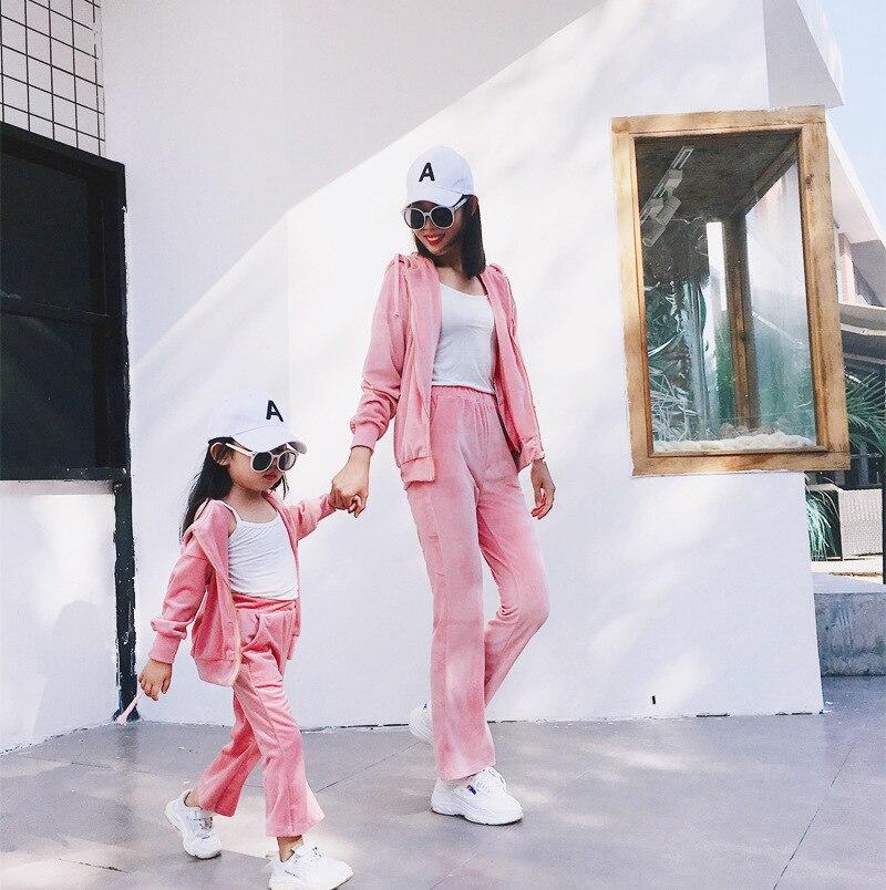 Mère et fille vêtements famille correspondant tenues Look maman et moi veste et pantalon ensemble maman fille vêtements ensembles livraison directe