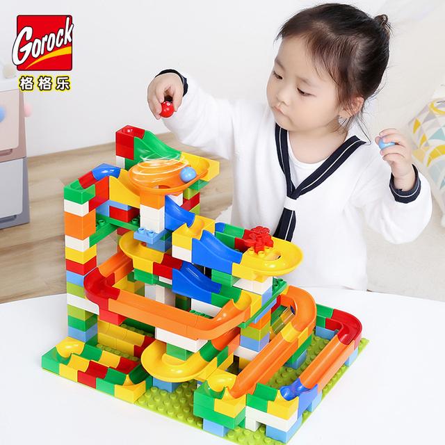 54-248PCS Marble Race Run Blocks Maze Ball Track Building Blocks Plastic Funnel Slide Big Size Bricks Blocks Kids Toy Gift