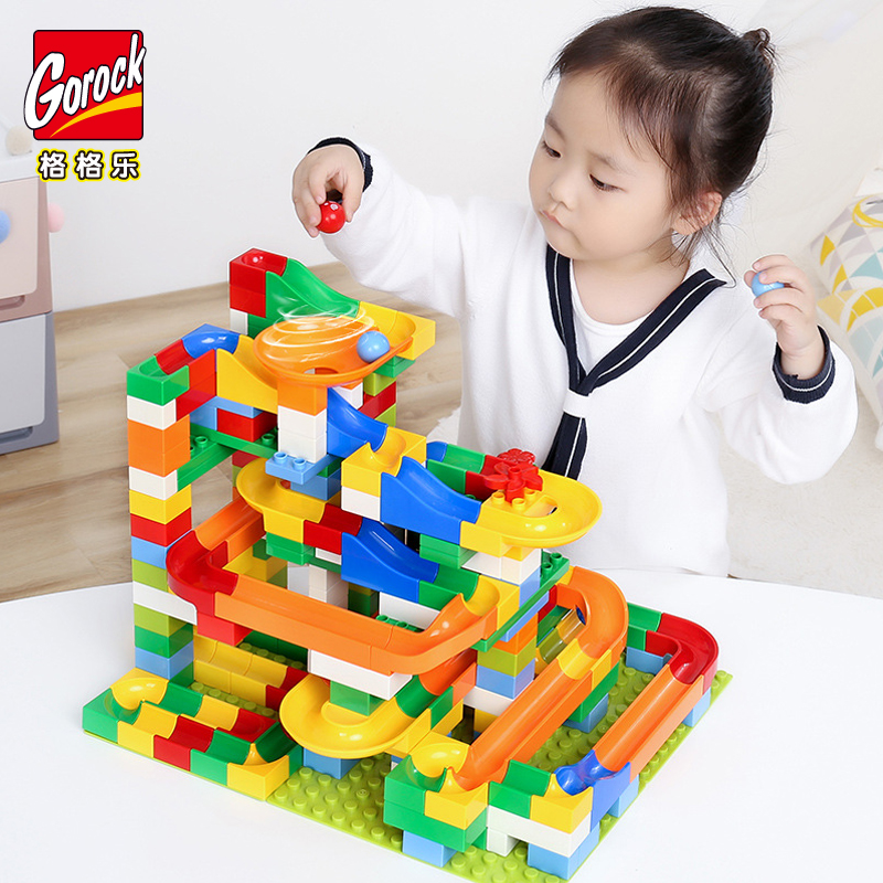 GOROCK 54-248PCS Marble Race Run Maze Ball Track Building Blocks Plastic Funnel Slide Big Size Bricks Duplo Blocks Kids Toy Gift candice guo plastic toy children block track ball building blocks 74pcs diy maze marble run construction system race deluxe gift