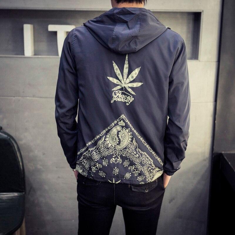 Japan Style Jacket Men Fashion 2019 Spring New Hooded Windbreaker Jacket Stylish Weeds Print Mens Coats Casual Mens Jackets 5XL
