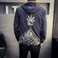 Japan Style Jacket Men Fashion 2017 Spring New Hooded Windbreaker Jacket Stylish Weeds Print Mens Coats Casual Mens Jackets 5XL