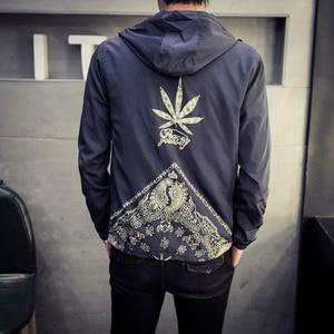 Image 1 - Japan Style Jacket Men Fashion 2020 Spring New Hooded Windbreaker Jacket Stylish Weeds Print Mens Coats Casual Mens Jackets 5XL