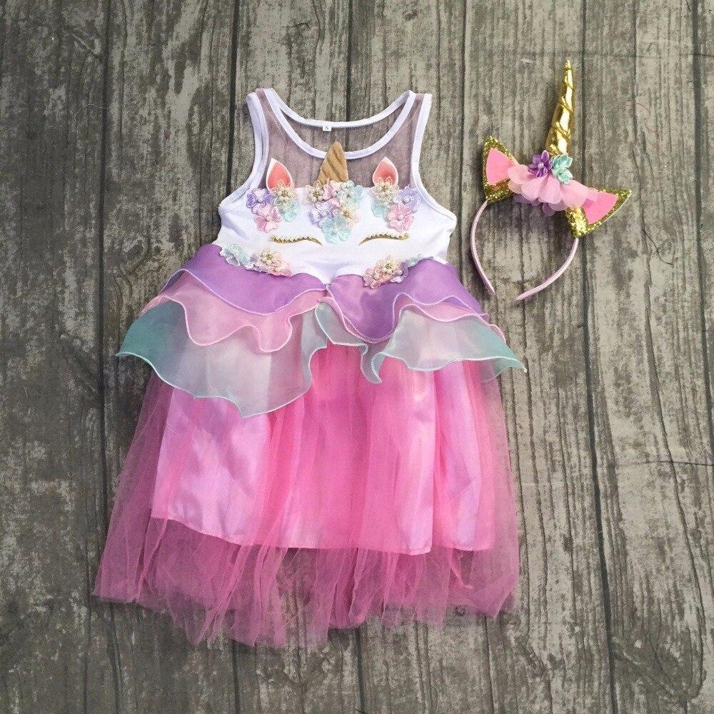 Bebé niñas unicornio vestido sin mangas princesa Tulle boda ...